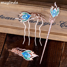 Fashion Crystal Feather Hair Sticks Hair Comb Hair Barrette Rhinestone Leaf Mix Color Ladies Hair Accessories(China)