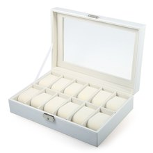 New Arrive 12 Grids White PVC Leather Watch Case Jewelry Display Box Gift Watch Box caixa para relogio(China)