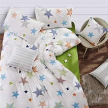 High Quality Pure Cotton Fabric Cartoon Design Little Stars Bedding Set Twin Full Queen King Size Fitted Sheet Duvet Cover Set