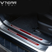 Vtear For Toyota RAV4 2016 2017 Stainless Steel Inside Door Sill Protector Pedal Scuff Plate Cover Trims products Accessories(China)