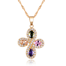 Effie Queen New Arrival Austrian Zircon Beautiful Flower Pendant Necklace Luxury Rose Gold-color Necklace for Girls DDN01(China)