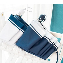 JESSEKAMM Navy White Strip Fully Automatic Strong Rain Umbrellas For Women Ladies 2018 New Design Anti-UV Fashion Gift Hot Sale(China)