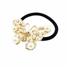 Fashion Alloy Butterfly Sweet White Pearl Girls Woman Hair Band hair Headband CJWD01(China)