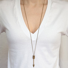 N1013 Long Chain Arrow Pendant Necklace Women Fashion Jewelry Charm Sweater Necklaces HOT