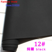 12# black Micro Lychee Pattren high quality 1.2mm thick PU Leather fabric for DIY cars table bags bed material (140*50cm)