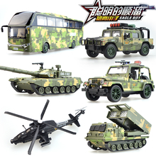 Alloy military model rocket camion 99 tanks suvs plane helicopter bus kid car toys collection Children's day birthday gift(China)