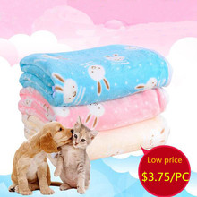 Cute Rabbit Elephant Pattern Coral Fleece Pet Sleep Warm Dog Cat Puppy Ultra Soft Blanket Towl Pet Beds Cover Mat S M L Size(China)