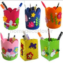 Cute Felt Brush Pencil Pen Holder Felt Toys DIY Craft Kits for Kids Handcrafts