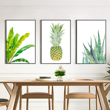 HAOCHU Modern Minimalist Print Fresh Aloe Pineapple Wall Paintings On Canvas Picture for Living Room Home Decor No Frame