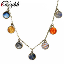 Caxybb Vintage 1 pc New Solar System Design, planet universe galaxy necklace, antique brass pendant, crystal dome necklace(China)