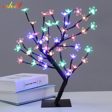 Luminarias LED Crystal Cherry Blossom Tree Lights Night Lights Table Lamps Christmas Fairy Wedding Decoration Indoor Lighting(China)