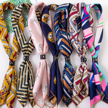 AOVKOVSA New  Wonmen Silk Scarf Occupation Airline Stewardess Small Square Scarves Fashion All-match Decorative Bandana