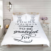 BeddingOutlet Letters Printed Bedding Set Black and White Duvet Cover Set Super Soft Quilt Cover with 2 Pillow Case 3 Pieces