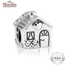 SHEALIA Original 925 Sterling Silver Home Sweet Home Charms Family House Beads Fit European Bracelets Diy Fine Jewelry Making