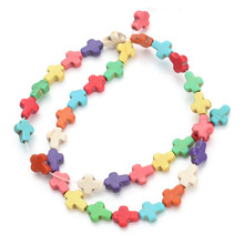 37pcs/pack 0.8cm*1cm*0.4cm Cross Loose Semi Precious Stones Spacer Beads Created Seed Beads DIY Jewelry Necklace F1321(China)