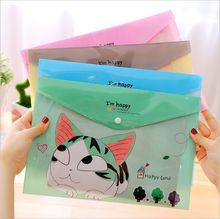 Cute Cartoon Cheese Cat PVC A4  File Bag Snap Document Bag A4 File Folder Stationery Storage Filing Production