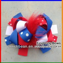 2designs 6inch Girl's Hair bows Ribbon children Bows accessory red white blue color match(China)