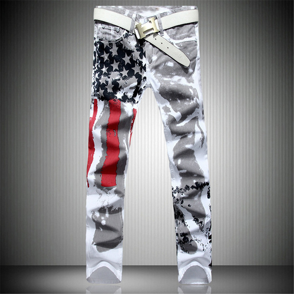 Top Quality Printed Fashion Mens Jeans Casual Leisure Pants Skinny Designed Flag Jeans Men Cotton Slim Denim Long TrousersОдежда и ак�е��уары<br><br><br>Aliexpress