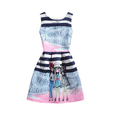 2016 Summer Style Dresses For Girl Floral Printed Sleeveless Formal Girl Dresses Teenagers Party Dress Cheap Free Shipping