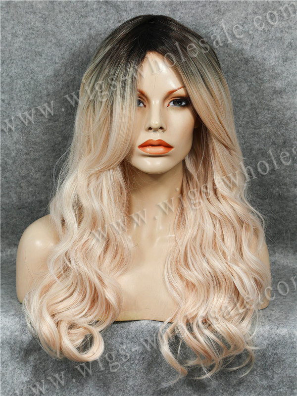 Cosplay Wavy Champagne Ombre Cosplay 22 Inches Synthetic Skin Top Glueless Wig Free Shipping<br><br>Aliexpress