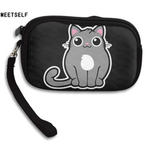 MEETSELF  Fashion Creative 3D Print Not Fat Just Fluffy Cat Womens Wallet Girls Cute Coin Purse Small Storage Bags For Key Card