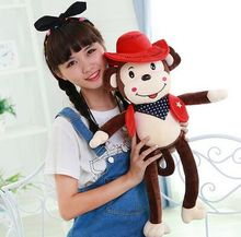 The new cute monkey plush toy doll wearing this dress and hat cowboy monkey monkey doll 066
