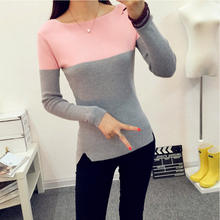 Ladies Christmas Sweater 2015 Winter New Slash Neck Cashmere Sweater Women Long Sleeve Warm Knitted Pullover Sweater Pull Femme