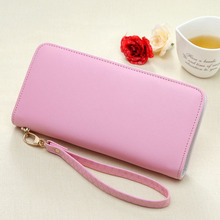 2017 Solid Zipper Women Wallet Simple Casual Lond Clutch bag Black Pink Rose red Blue Gray Violet and Green colors(China)