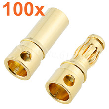 100Sets Female Male 3.5mm Gold Bullet Banana Connectors RC Car Quadcopter ESC Battery Pack Device Electric Motor Wire Parts DIY(China)