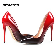 Top Quality Women High Heel Wedding Shoes Black/Red Patent Leather Slip-on Pumps Sexy Pointed Toe Stiletto High Heel Dress Shoes