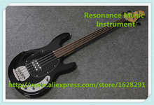 China Custom Fretless 4 String Music Man Electric Bass Guitar In Glossy Black In Stock