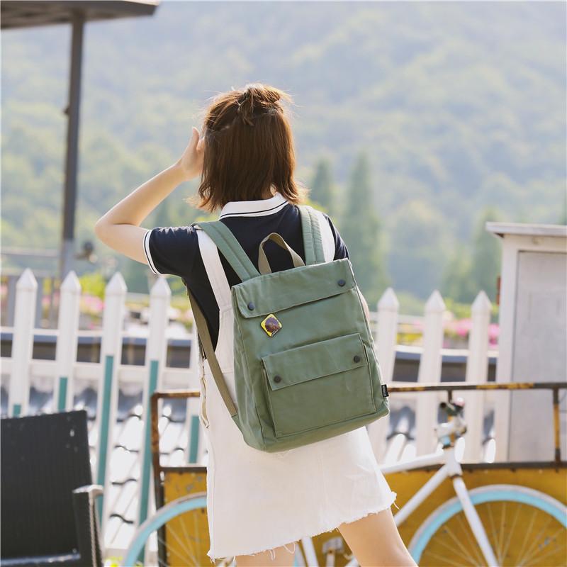 Menghuo Brand Female Women Canvas Backpack Preppy Style School Lady Girl Student School Laptop Bag Cotton Fabric bolsasKITJ2184