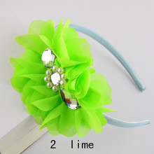 Pearls Rhinestones Center 5inch Chiffon Flower Hairband Girls Covered Hair Bands pink,blue,lavender,ivory,lime