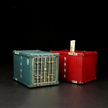 Vintage iron container box Model Individual iron container tissue box Home furnishings(China)