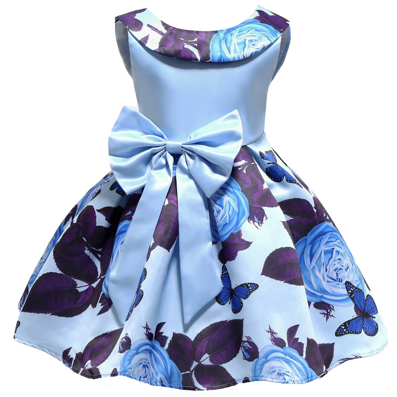 2018 New Summer Girls Birthday Wedding Party Princess Dresses Kids Printing Dress Girl Christmas Prom Dress 2-9 years old