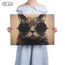 TIE LER Cool Handsome Cat Sunglasses Rock Animal Kraft Paper Bar Poster Retro Poster Decorative Painting Wall Sticker