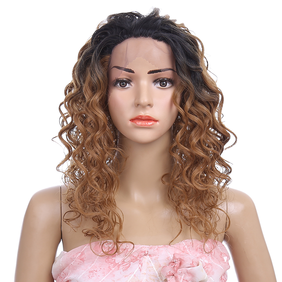 18inch No Parting Ombre Brown Wigs Loose Deep Curl Long Lace Frontal Wigs Grace Style hair lace front wigs synthetic Hair wigs<br><br>Aliexpress