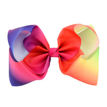 "5pcs 8"" Gradient Colors Grosgrain Ribbon Bow Clips Kids Hair Clip Boutique Rainbow Hair Accessories Girl Dancing Party Hairpin"