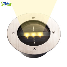 Steel Solar Power 3LED Buried Light Outdoor lawn underground PathWay Garden Park Decking Lamp Cool White 1200mA Waterproof IP68 - SanDear Store store