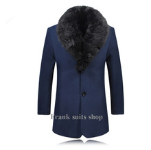 Custom made new luxury fur collar men wool coats thick woolen blends medium-long trench coat Single Breasted outwear pea coat