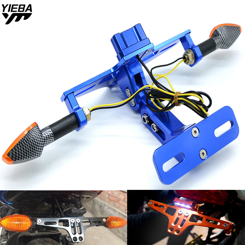 Universal CNC Motorcycle With light License Plate Bracket Holder FOR Yamaha YZFR3 YZFR25 R25 XT660/X/R/Z BMW R1200RT C650Sport