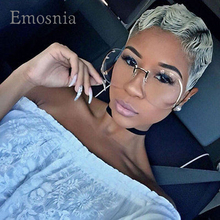 Emosnia Rimless Gradient Classic Big Sunglasses Optics Metal Frame Women Men UV400 Vintage Sun Glasses Frame Retro Oversized(China)