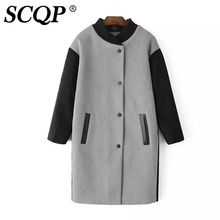 SCQP Elegant Loose Patchwork Ladies Winter Coat Pockets Single Breasted Blends Long Coat Women Fashion Casual 2016 Woman Coats