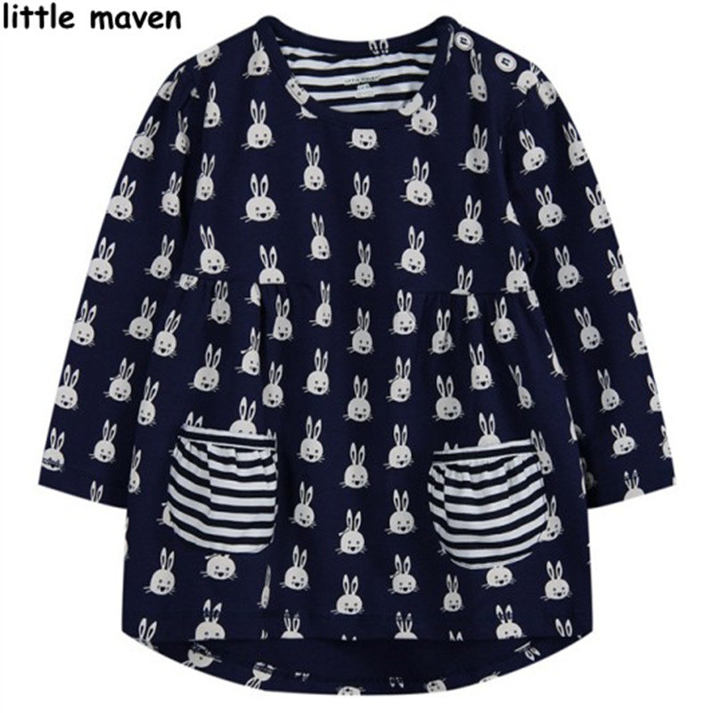 Little maven children brand clothing 2017 new autumn winter baby girls clothes kids Cotton rabbit print pocket black dress L005<br><br>Aliexpress