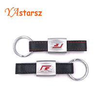 New Alloy PU Leather Keyring keychain Car Logo Black/Red R Line Rline Fit For VW Golf Jetta R32 R36 MK6 Key ring Car styling