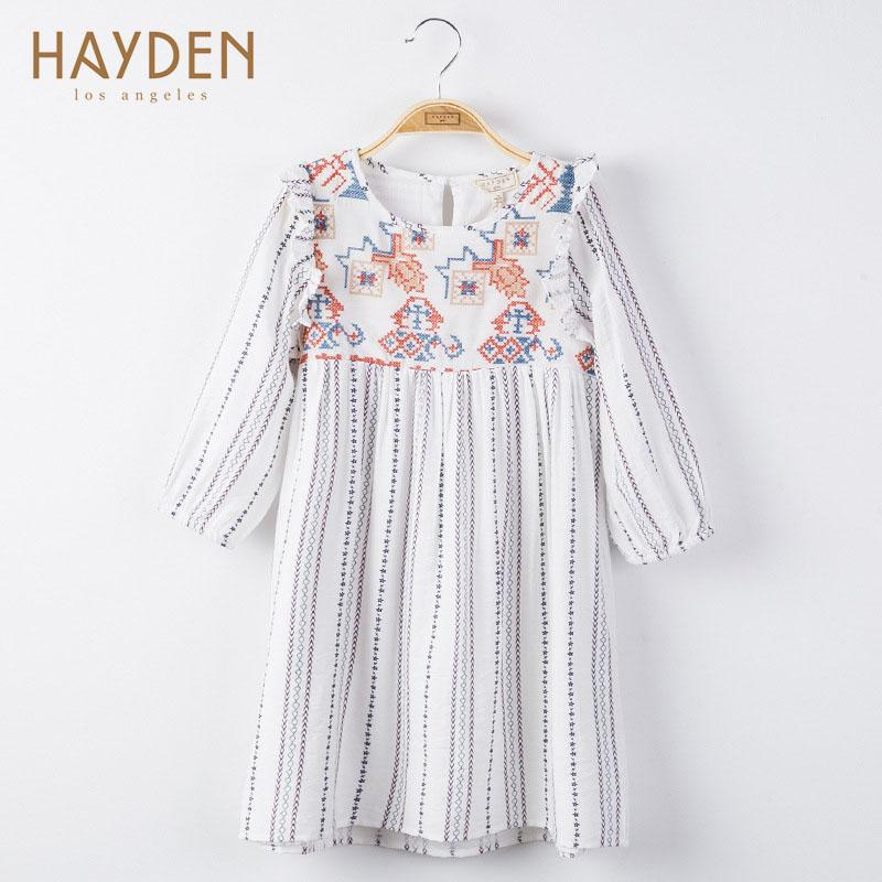 HaydenGirls Europe Childrens Clothing Spring Autumn 2017 Teenage Girl  Striped Lace Long Sleeve Dress Princess Party For 7T-14T<br>