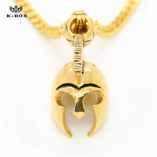 Hot Stainless Steel Roman Empire Ancient Greek Spartan Warrior Helmet Mens Pendant Necklace Movie Jewelry Gift(China)