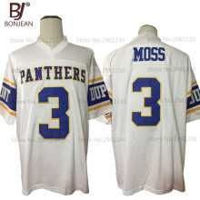 2017 New Cheap Randy Moss 3# Dupont Panthers High School Home Throwback American Football Jersey White Stitched Shirt