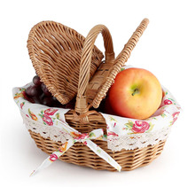 Wicker Basket Wicker Camping Picnic Basket Shopping Storage Hamper with Lid and Handle Wooden Color Wicker Picnic Basket(China)