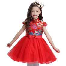 Chinese style 3-10 years girl child cheongsam Autumn  princess dress red festivals short sleeves embroidery cheongsam dress